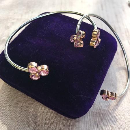 Pink Sapphire Trefoil Bangles