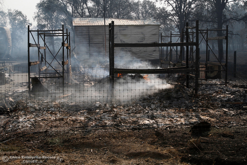 . Bangor Feed continues to burn Tuesday, Oct. 10, 2017, in Bangor, California, after the La Porte Fire ripped through the unincorporated Butte County community. (Dan Reidel -- Mercury-Register)