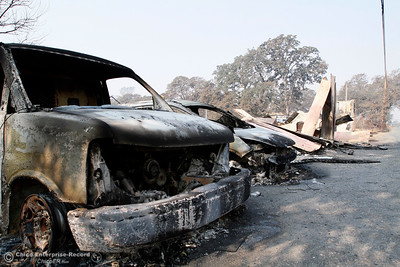 Surveying the damage Tuesday, Oct. 10, 2017, in Bangor, California, after the La Porte Fire ripped through the unincorporated Butte County community. (Dan Reidel -- Mercury-Register)
