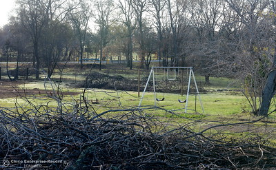 A swingset is seen in a green field surrounded by brush piles as state and federal agencies help clean up debris following the La Porte Fire in Bangor, Calif. Wed. Dec. 13, 2017. (Bill Husa -- Enterprise-Record)