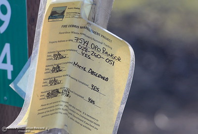Notices are posted on properties as state and federal agencies help clean up debris following the La Porte Fire in Bangor, Calif. Wed. Dec. 13, 2017. (Bill Husa -- Enterprise-Record)
