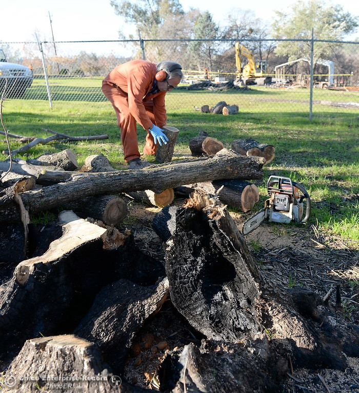 . Antonio Penarrocha of Oregon House salvages wood with permission from the owner at the Bangor Ranch and Vinyard following the La Porte Fire in Bangor, Calif. Wed. Dec. 13, 2017. (Bill Husa -- Enterprise-Record)