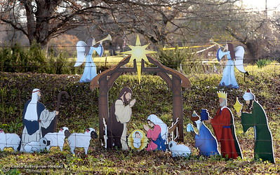A nativity scene is set up at a property that sustained major damage during the La Porte Fire in Bangor, Calif. Wed. Dec. 13, 2017. This week, State and Federal agencies are in town helping with hazardous material removal and disposal. (Bill Husa -- Enterprise-Record)