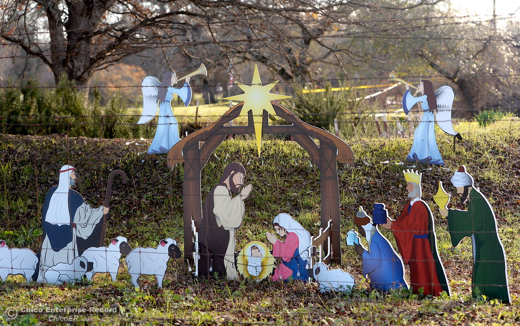 . A nativity scene is set up at a property that sustained major damage during the La Porte Fire in Bangor, Calif. Wed. Dec. 13, 2017. This week, State and Federal agencies are in town helping with hazardous material removal and disposal. (Bill Husa -- Enterprise-Record)