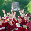 The Bangor High School baseball team celebrates their 3-0 win over Mt. Ararat in the Regional Class A Championship Wednesday in Augusta. The Rams will face Falmouth Saturday at 2 p.m. in Augusta for the State Championship.  <br /> Amber Waterman Thomas