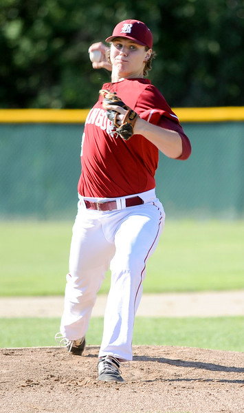 Peter Kemble pitches another strike against Mt. Ararat in the Regional Class A Championship Wednesday in Augusta,