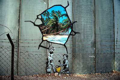 Banksy Graffiti, Palestine 2005 *Note this Banksy work is now badly faded or gone. This is the now the cleanest image available, and is limited.