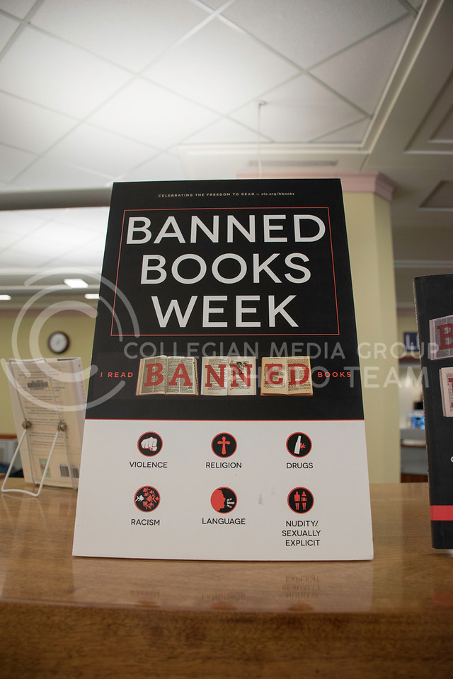 Hale Library, on Kansas State's campus sported a Banned Books display on the main floor of the library on Sept. 28, 2017. (Olivia Bergmeier | Collegian Media Group)