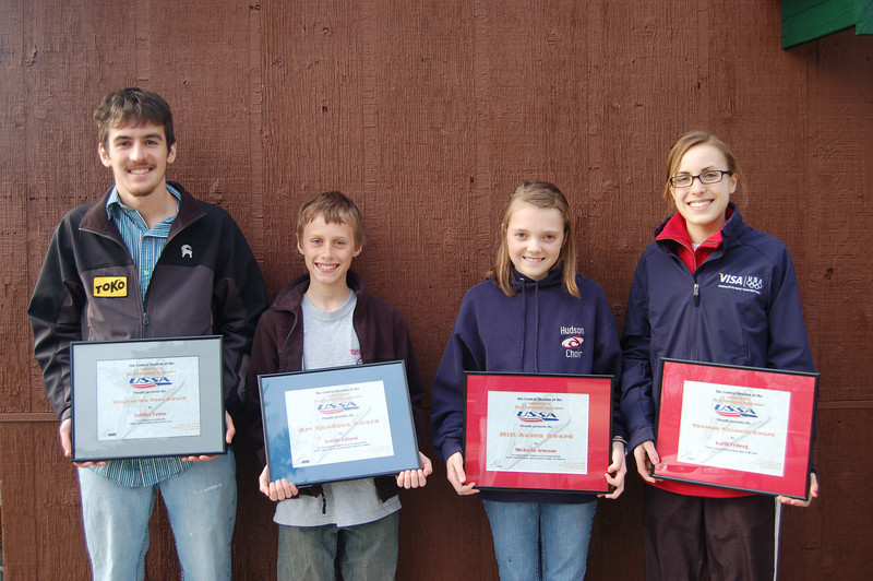 The 2008 Central Division Skier Award Winners from the St Paul Ski Club:  (left to right)<br /> Skier of the Year:  Johnny Lyons<br /> Art Knudsen Award for Most Improved Central Junior Male Skier: Trevor Edlund <br /> Milt Aasen Award for Most Improved Central Junior Female Skier: Michaela Arneson<br /> Theresa Altobelli Award for Central Female Skier of the Year: Karin Friberg