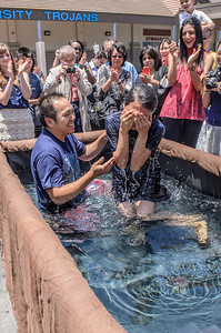 Saddleback Irvine Sunday Worship - University H.S. venue baptism - photo by Allen Siu