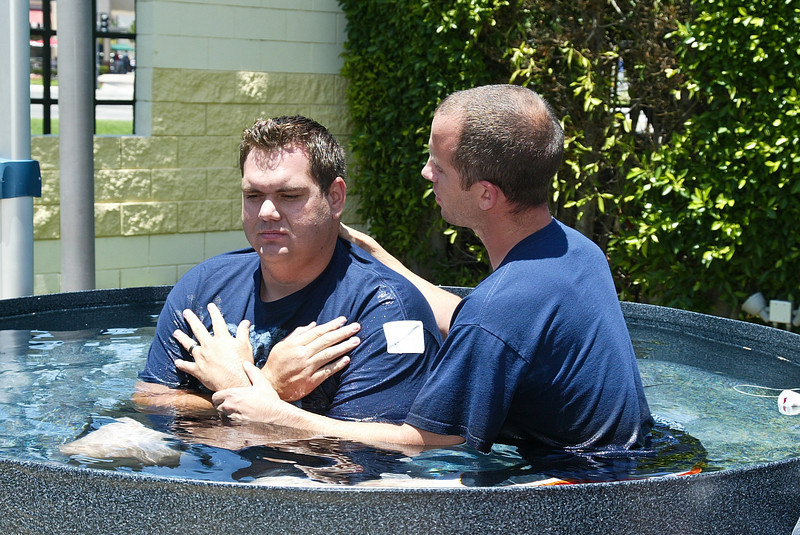 Christopher Keller prior to being baptized by Pastor Goley on Sunday July 1, 2012.
