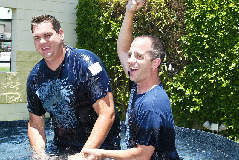 Christopher Keller after to being baptized by Pastor Goley on Sunday July 1, 2012.