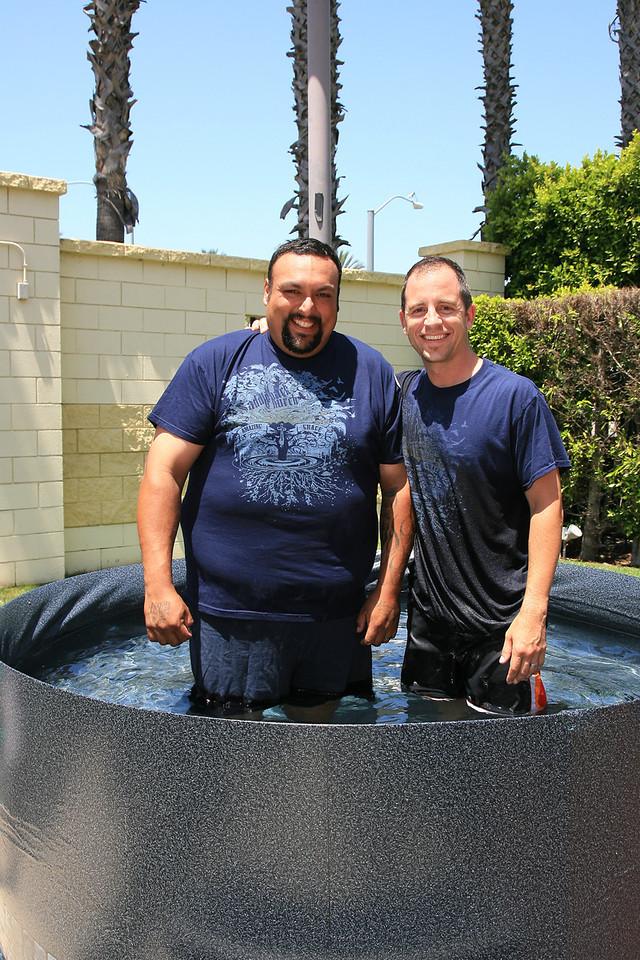 Stuart Lopez and Pastor Jeremiah Goley prior to Stuart's baptism on Sunday August 5, 2012.