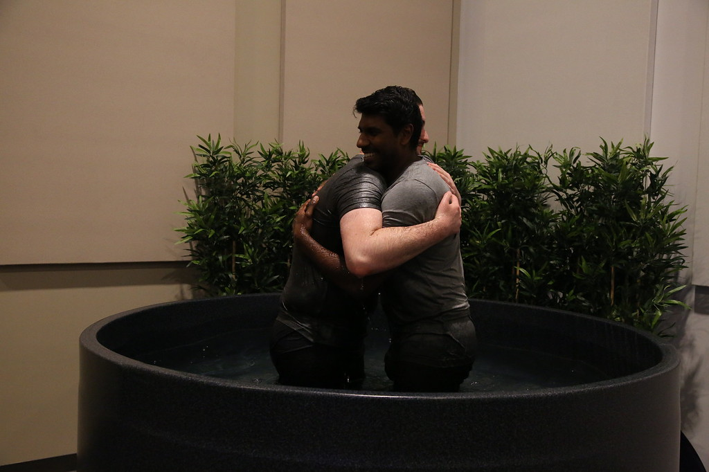 2017-05-06 Sam Kornberg being baptized by Pastor Santosh Swamidass at Saddlback Church Anaheim