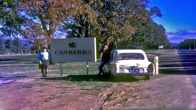 On the way to Victoria in Pam's Ford Anglia. She would later continue on to her home in West Aust.