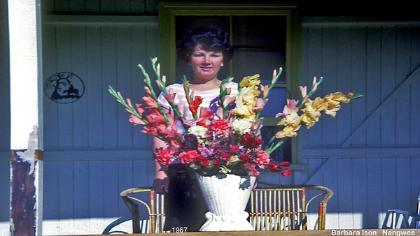 Barbara Ison age 21 & flowers from Clive the farmer at Nangwee after her big adventures SA etc.