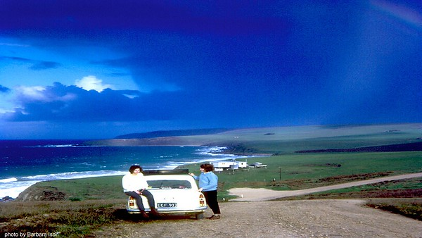 A rainbow on the coast. Pam at left  1966