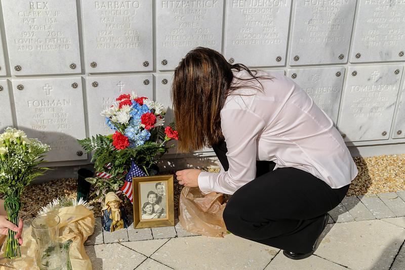 Jae arranging the flowers