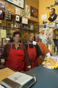The effusive friendliness and hospitality of Sam's was unmatched. It was one of the few restaurants serving mutton. That's, left to right, Veronica Mays, Ron Mays, and Kay Mays. Not shown: Wanda and Brian Mays.