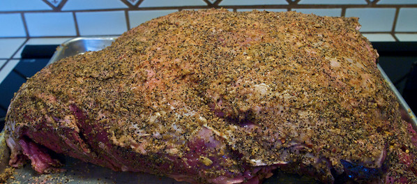 """21 lb Beef Shoulder Clod seasoned before putting in the """"EGG"""" for the long slow cook"""