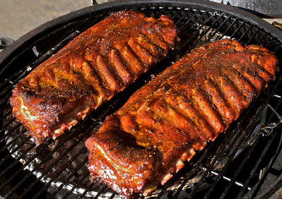 Ribs after 3 1/2 hours of cooking