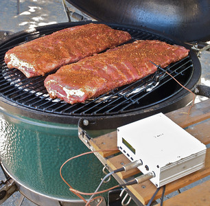Ribs on, Stoker set, temp probe in place and now ready to close the lid for 5 hours of slow smoking