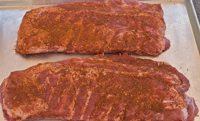 Ribs rubbed and ready to put in the Big Green Egg