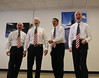 HOLLY PELCZYNSKI - BENNINGTON BANNER four members of a barbershop quartet sing for veterans at the Vermont Veterans Home on Thursday afternoon in Patriots Hall.