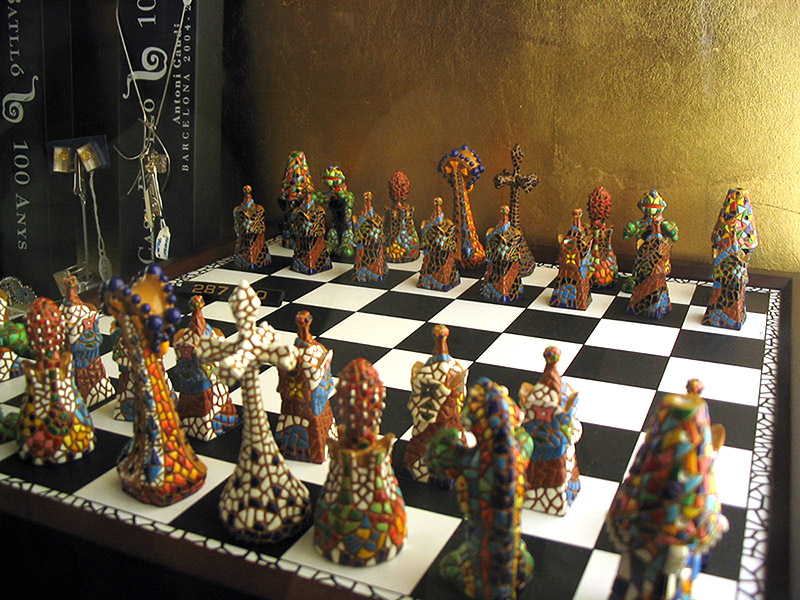 Intricate chess set for sale in the gift shop: extremely expensive!
