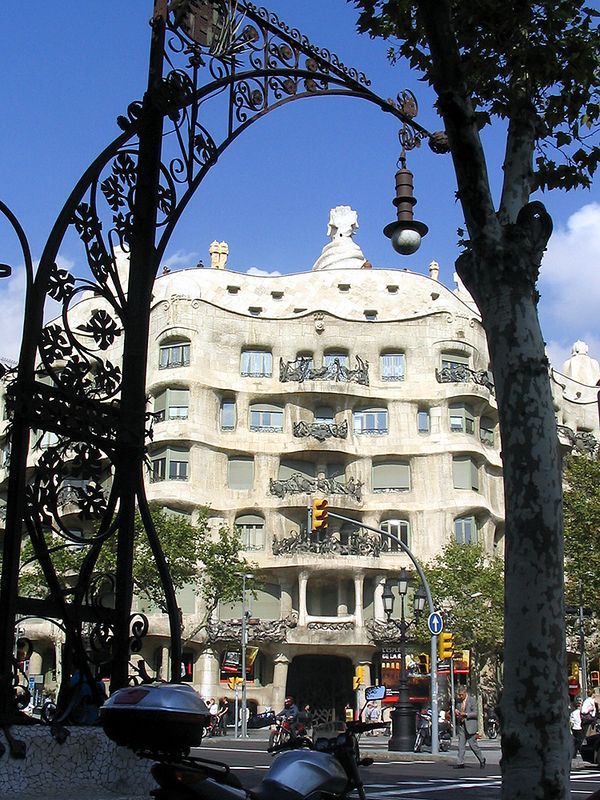 "The facade of Gaudi's Casa Mila, better known as ""La Pedrera"" (the Catalan for quarry.)"