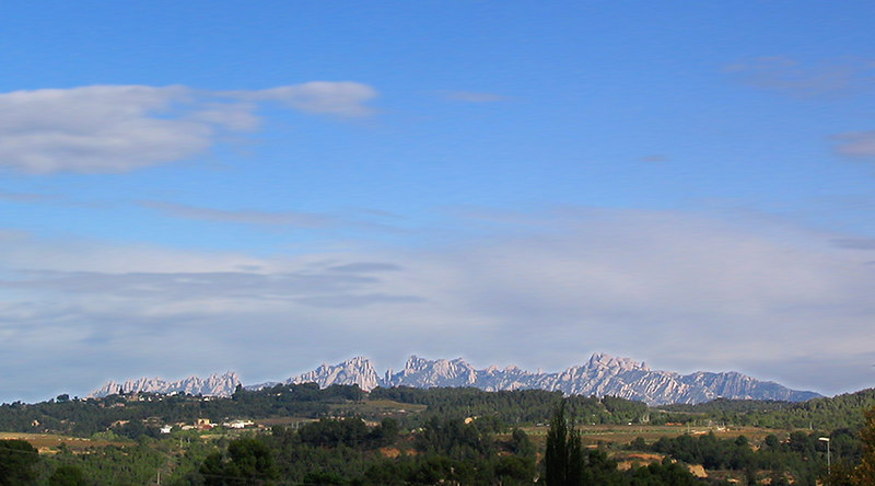 The crest of the Montserrat mountains seen from near the Codornui Cava