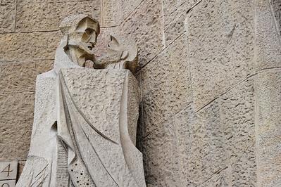 The sculputer of Judas' betrayal of Jesus
