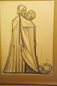 """One of the drawings in the workshop for the sculpting of the """"Kiss of Judas"""" sculpture"""