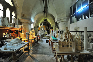 Workshop in the cellar where models are built and drawings made for the sculptures