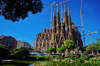 Pano of the North Facade; Sagrada Familia Cathedral