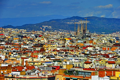 Barcelona skyline; Sagrada Familia stands out over all others