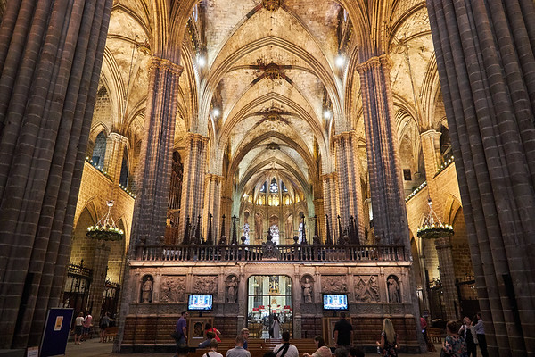 Interior of the Cathedral of the Holy Cross and Saint Eulalia, more commonly known as the Cathedral of Barcelona, consecrated in 1339