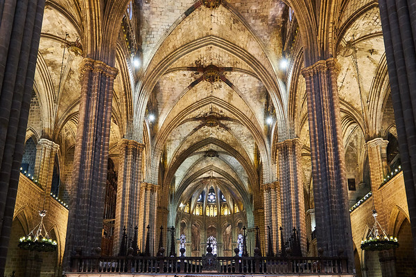 Interior of the Cathedral of the Holy Cross and Saint Eulalia, more commonly known as Barcelona Cathedral, consecrated in 1339