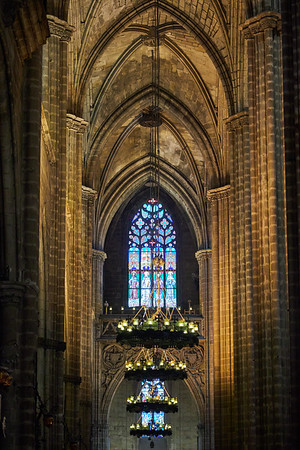 The nave in the Cathedral of Barcelona, consecrated in 1339