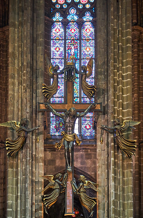 The crucifixtion above the alter in the Cathedral of Barcelona, consecrated in 1339