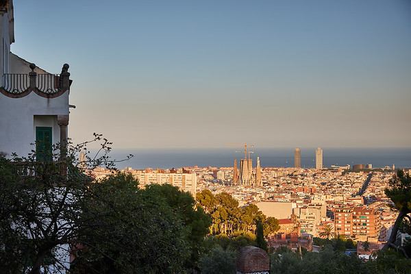 View from Antoni Gaudi's Park Güell of Barcelona, with his partly constructed Sagrada Familia cathedral rising centre