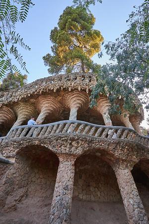 The distinctive architecture of Antoni Gaudi's Park Güell, Barcelona