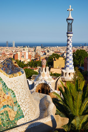 Parc Guell architecture by Gaudi, Barcelona, Spain