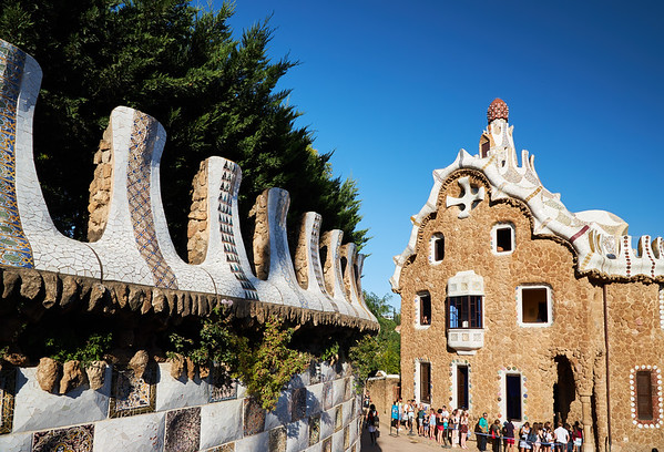 Queuing to enter Casa del Guarda, in Park Guell by Gaudi, Barcelona