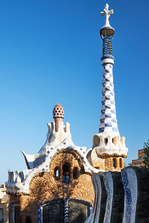 The distinctive architecture of Antoni Gaudi's Park Güell, Barcelonahe dest