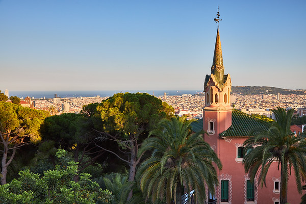 View from Parc Guell, designed by Gaudi, Barcelona, Spain