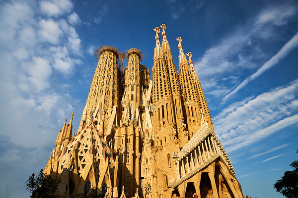 The Sagrada Familia by Antoni Gaudi in Barcelona. When completed a huge central spire will dwarf these supporting spires