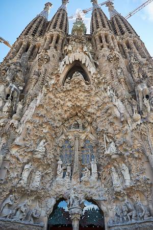 Nativity facade of Sagrada Familia by Antoni Gaudi
