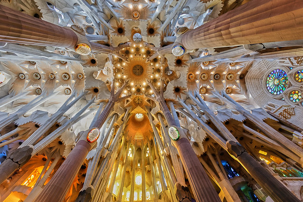 Detail of the fantastical roof of the Sagrada Famila