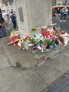 Makeshift memorial to August 17 van attack